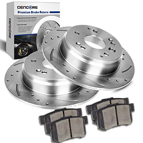 CENCORE  Rear Left & Right Non-Coated Anti-Rust Brake Disc Kit Cross Drilled & Slotted 2 Brake Rotors Plates & 4 Ceramic Brake Pads 5 Lugs Compatible with 2004-2008 Acura TL 2003-2011 Honda Element