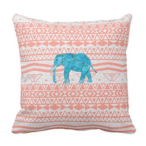 "Zazzle Whimsical Teal Paisley Elephant Pink Aztec Pattern Throw Pillow 16"" x 16"" -  8166fd9b-d67c-f208-f9ac-1c1640260264"
