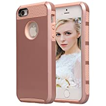 iPhone SE Case, iPhone 5s Case, NOKEA Hard Rugged Ultra Protective Back Rubber Cover Soft TPU Bumper&Hard Shell Solid PC Back, Shock-Absorption&Anti-Scratch Hybrid Dual-Layer Slim Cover (Rose Gold)