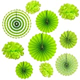 Set of 10 Green Paper Fans Rosettes Hanging Ornament Birthday Party Wedding Decorative