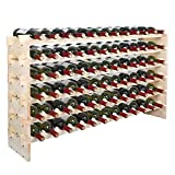 Smartxchoices Stackable Modular Wine Rack Wine Storage Stand Wooden Wine Holder Display Shelves, Wobble-Free, Solid Wood, (Six-Tier, 72 Bottle Capacity) (Wood) (72 Bottle)