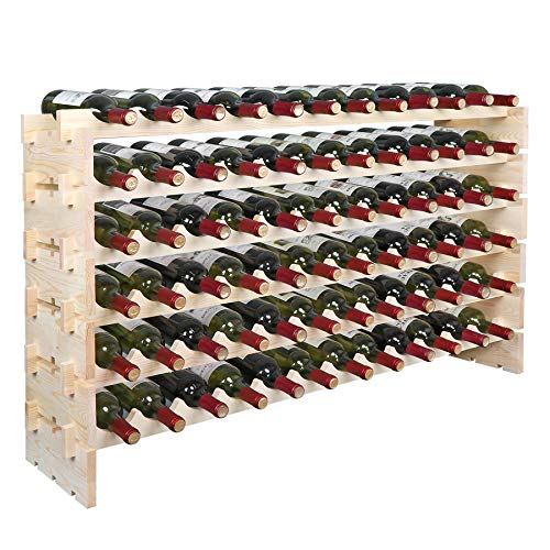 (Smartxchoices Stackable Modular Wine Rack Wine Storage Stand Wooden Wine Holder Display Shelves, Wobble-Free, Solid Wood, (Six-Tier, 72 Bottle Capacity) (Wood) (72 Bottle))