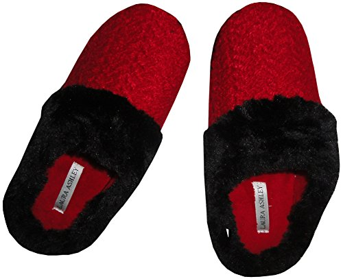 Laura Ashley Women's Slippers Red and Black (Medium (6.5-...