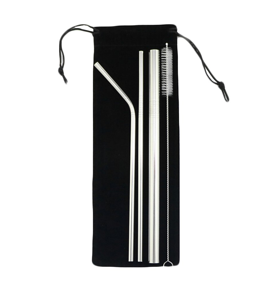 Stainless Steel Drinking Straws, Set of 4, Set of 7,Free Cleaning Brush Included (4 PCS)