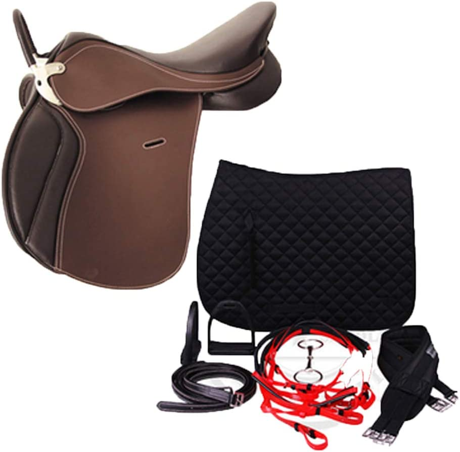 BLCC Horses Equipment Taburete de Silla de Montar Juego Completo Mobiliario de Silla de Montar Expositor de Silla de Montar Adornos, Adecuado para Ecuestre Cross-Country Amortiguación C Dark Brown