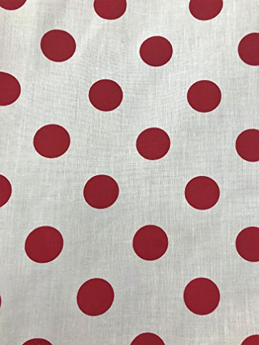 (Red Big Polka Dots on White Poly Cotton Print Fabric by The Yard (White/Red Dots))