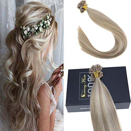 Sunny 50 Strands Brazilian Remy Utip Hair Extensions Blonde mixed Brown Highlight Silk Straight Fusion Tip Hair 14 Inches 50g