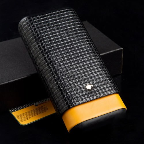 Yellow Black Leather Cedar Wood 3Ct Adjustable Cigar Cigarettes Case Holder Humidor by cigar in style