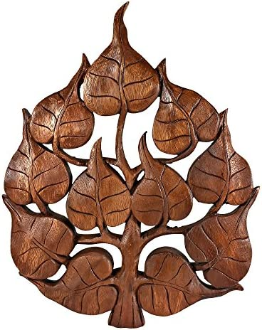 AeraVida Enlighten Pho Bodhi Tree Leaf Hand Carved Wall Art