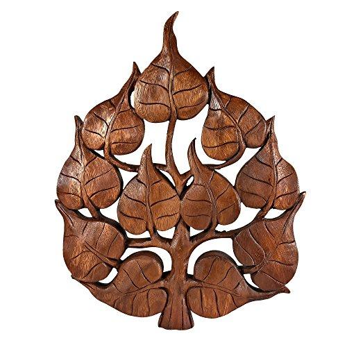 AeraVida Enlighten Pho Bodhi Tree Leaf Hand Carved Wall Art