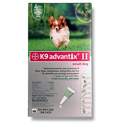 Advantix II (Grn) Dog (0-10) 4 month (Pack 4 Advantix Green)
