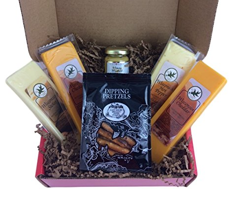 Variety Cheese Pretzel and Mustard Snack Gift Basket Box Cheddar Swiss Hot (Gift Baskets For Employees)
