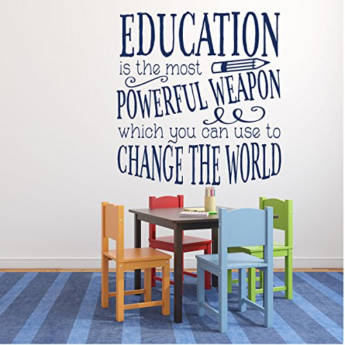 Classroom Decorations for Teachers - Education is Powerful Inspirational Quote Vinyl Wall Decal (2nd Grade Classroom Themes)