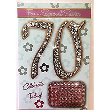 Amazon with love sister happy 70th birthday card office sister age 70 celebrate today style with sentiment verse 70th birthday greeting card bookmarktalkfo Image collections