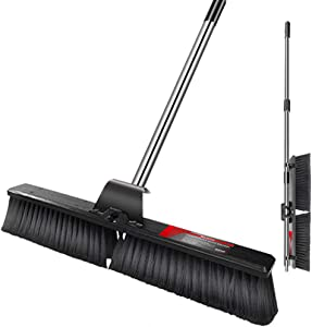 """24"""" Push Broom Wide Outdoor Stiff Sweeping Broom With Stiff Bristles Heavy Duty Garden Yard Patio Broom Sweeper for Floors Surfaces Scrub and Cleaning"""