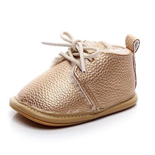 Clode® Neugeborenen Baby Girls jungen solide Krippe Schuhe Soft Sole Anti-Slip Sneakers Gold