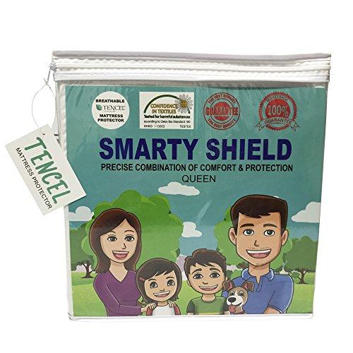 Shield Quiet (Smarty Shield Tencel Mattress Protector - Hypoallergenic, Breathable, Thin, Quiet, Smooth, No Vinyl, No Odor & 100% Waterproof - Queen and King Mattress Protector (Queen))