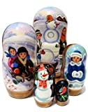 Children 5 Piece Russian Nesting Doll Hand Painted Winter Snowman Kids Toy Babushka