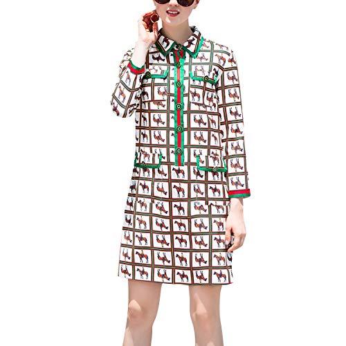 Estampado Solapa Mujeres Fiesta De Ol Para Vestido Una Beige Mini Larga Cuello Floral Manga Línea Redondo Con HXtRwwZqx