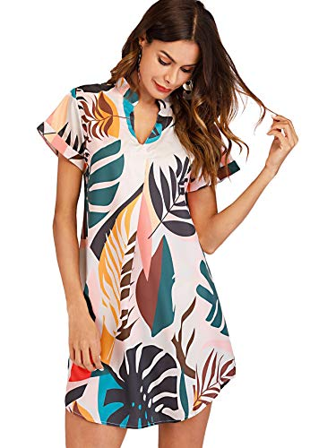 2acf63da2c SheIn Women's Leaf Print Short Sleeve V Neck Casual Summer Dress Large  Multicolor