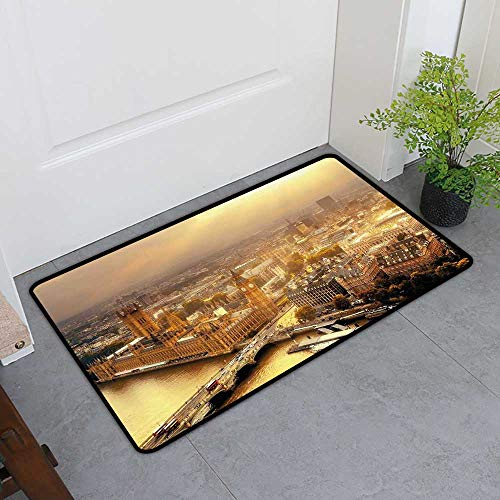 Custom&blanket Entrance Door Mat, Cityscape Decorative Doormats for Bedroom, Westminster Aerial View with Thames River and London Urban Cityscape Panoramic (Gold Grey, H32 x W48)