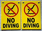 2-Pc Garnished Unique No Diving Symbols Signs Outdoor Board Swiming Printed Plastic Declare Swim Warning Post Peeing Pond Pool Poster Keep Water Allowed Lifeguard On Duty Size 8'' x 12'' with Grommets