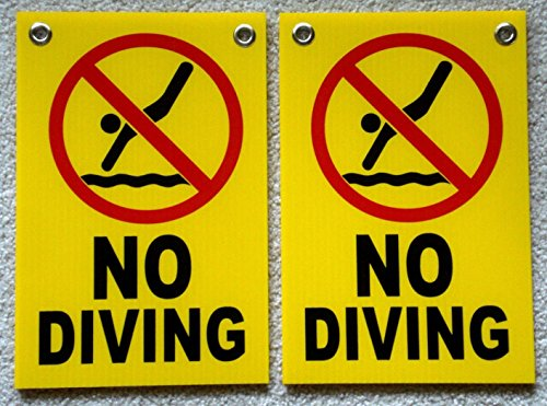 2-Pc Garnished Unique No Diving Symbols Signs Outdoor Board Swiming Printed Plastic Declare Swim Warning Post Peeing Pond Pool Poster Keep Water Allowed Lifeguard On Duty Size 8'' x 12'' with Grommets by Chiam-Mart