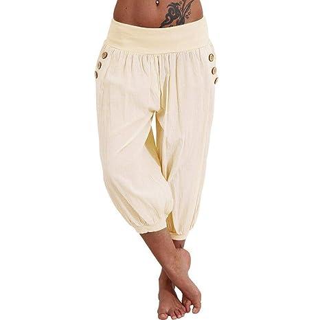 LINYIOU77 - Pantalones de Verano para Mujer, Talla Grande, Cintura ...