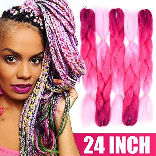 Silike Ombre Jumbo Braid Kanekalon Hair For Teens (5 Pieces) 24 Afro Jumbo Braiding Hair Extensions (Purple/Red/Pink)