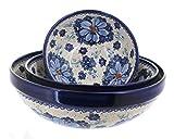 Blue Rose Polish Pottery Daisy Surprise 3 Piece Serving Bowl Set