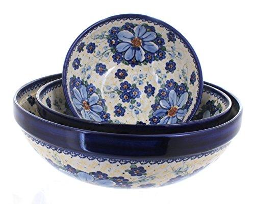 3 Piece Pottery Roses - Blue Rose Polish Pottery Daisy Surprise 3 Piece Serving Bowl Set