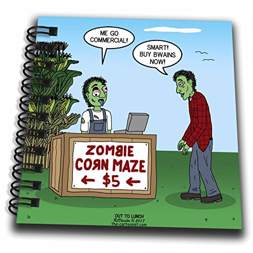 3dRose Rich Diesslins Funny Out to Lunch Cartoons - Zombie Corn Maze - going commercial - Mini Notepad 4 x 4 inch (db_266814_3)