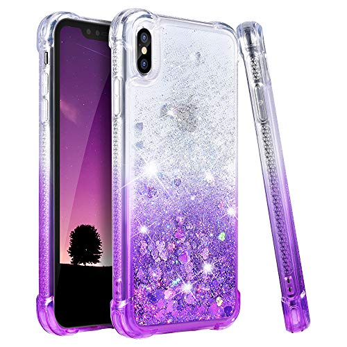 Ruky iPhone X Case, iPhone Xs Glitter Case, Gradient Quicksand Series Girls Women TPU Bumper Cushion Reinforced Corners Protective Bling Liquid Case for iPhone X/Xs 5.8 inch - Gradient Purple