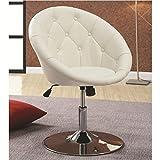 Coaster 102583 Round-Back Swivel Chair, White