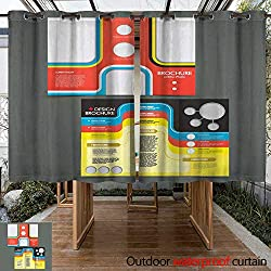 RenteriaDecor Home Patio Outdoor Curtain Vector brochure Layout Design Template W108 x L72