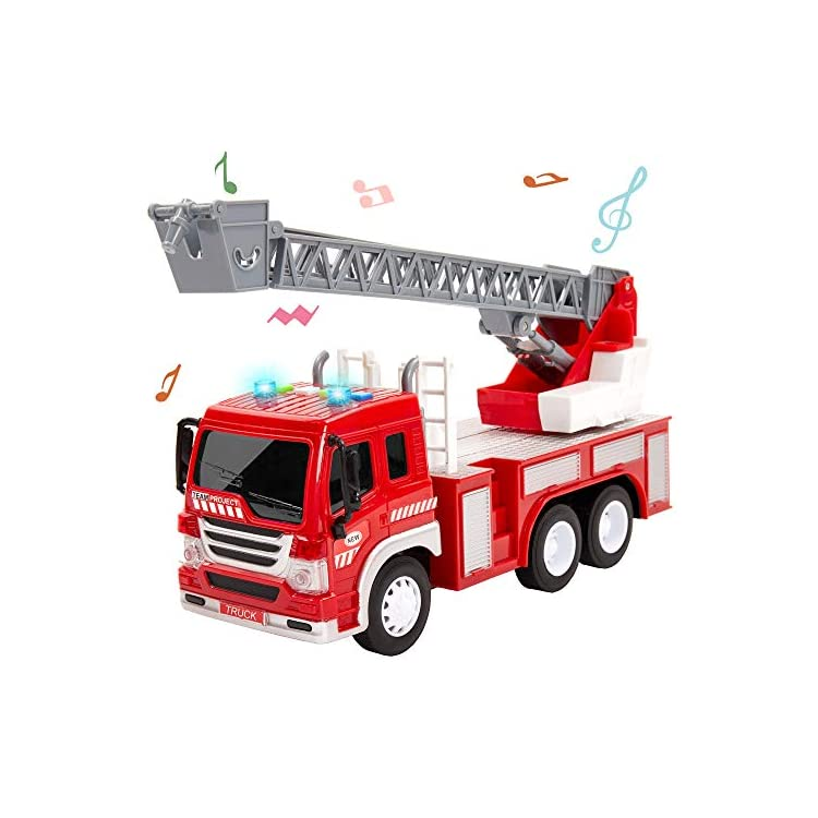HERSITY Kids Fire Engine Truck Toys Push and Go Cars with Lights and Sounds Emergency Rescue Ladder Truck Educational…