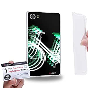 Case88 [Sony Xperia Z5 Compact / Mini] Gel TPU Carcasa/Funda & Tarjeta de garantía - Art Fashion Reversed Green Psychedelic Bicycle 1331