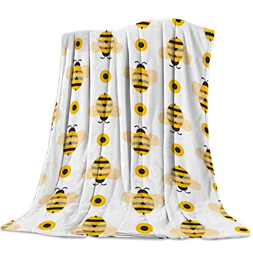 Lightweight Flannel Traveling Throw Blanket Blankets Cartoon Bumble Big Honey Bee Blankets/Bedcovers/Bedspread/Throws for Couch Bed -