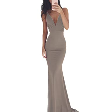 Women Long Fishtail Dress Sleeveless Deep V Neck Prom Gown Bridesmaid Party  Dress Formal Cocktail ( c3e7947da