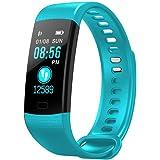 relojes deportivos, Pulsera Actividad Pulsera Inteligente Impermeable con Monitor de Sueño y Calorías, Podómetro, Pulsera Bluetooth Compatible con iOS y Android, Soporte SMS, WhatsApp, Facebook (verde)