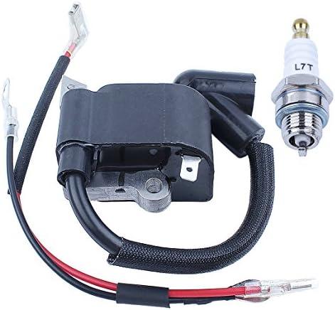 Ignition Module with Spark Plug BM6A for Husqvarna 36 41 136 136E 136LE 137 137E 141 141LE 142 142E 235 235E 240 240E Chainsaw 26LC Line Trimmer PN # 530029143 545199901 Champion Rcj7Y