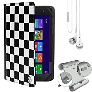Folio Case Checkers & Earbuds & Metal Stand For Ematic Quad Core / Dual Core / Eve-Tech Eve 8.1 / Fujitsu STYLISTIC 8 / Hannspree / Hipstreet
