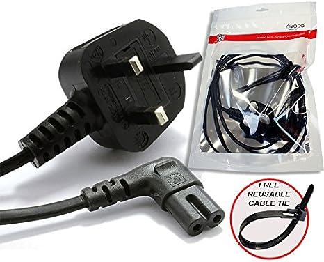 HD Box Power Cable UK 3 Pin Plug to Right Angled 90 Degree IEC C7 Figure 8 Cord Sky Plus Ancable 3M White Power Lead for Samsung Philips Toshiba LG Sony Sharp Panasonic LED Flat TV Sky box