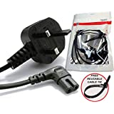 invapa® - 3 Metre - UK Mains Power Lead - RIGHT ANGLE - Cable for Samsung Toshiba LG Sharp Sony TV Sky box, Sky Plus+ HD Box | 3 Pin Wall Cord to Figure 8 C7 (3 METRE) FREE reusable cable tie.BLACK