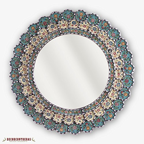 """Peruvian Round Mirror 23.6in""""Andean Blossom"""", Silver wood framed wall mirror, Decorative Cuzcaja Mirror wall decor, hand-painted glass mirror"""
