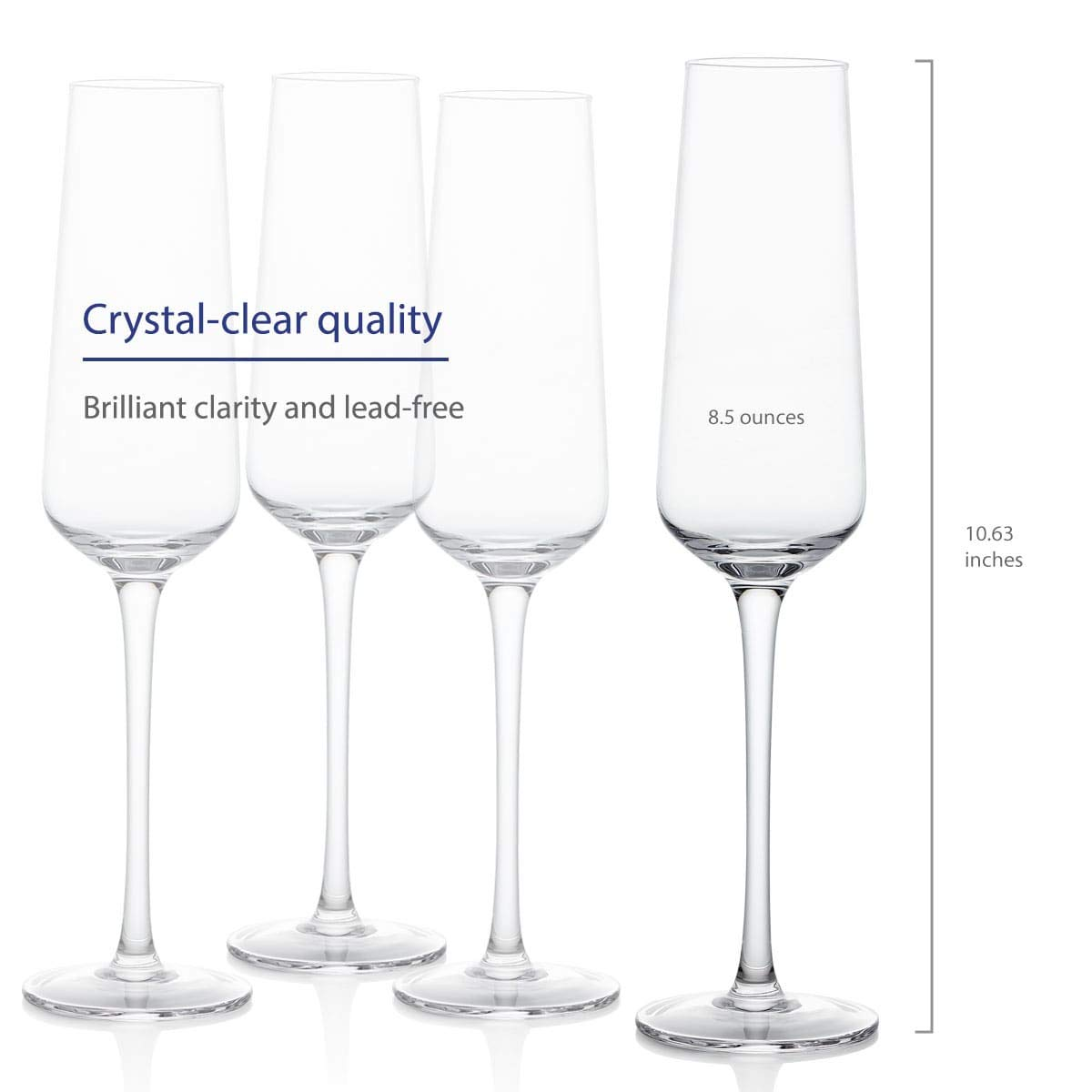GoodGlassware Champagne Flutes (Set Of 4) 8.5 oz - Crystal Clear Clarity, Classic and Seamless Tower Design - Lead Free Glass, Dishwasher Safe, Quality Sparkling Wine Stemware Set by Vintorio (Image #2)
