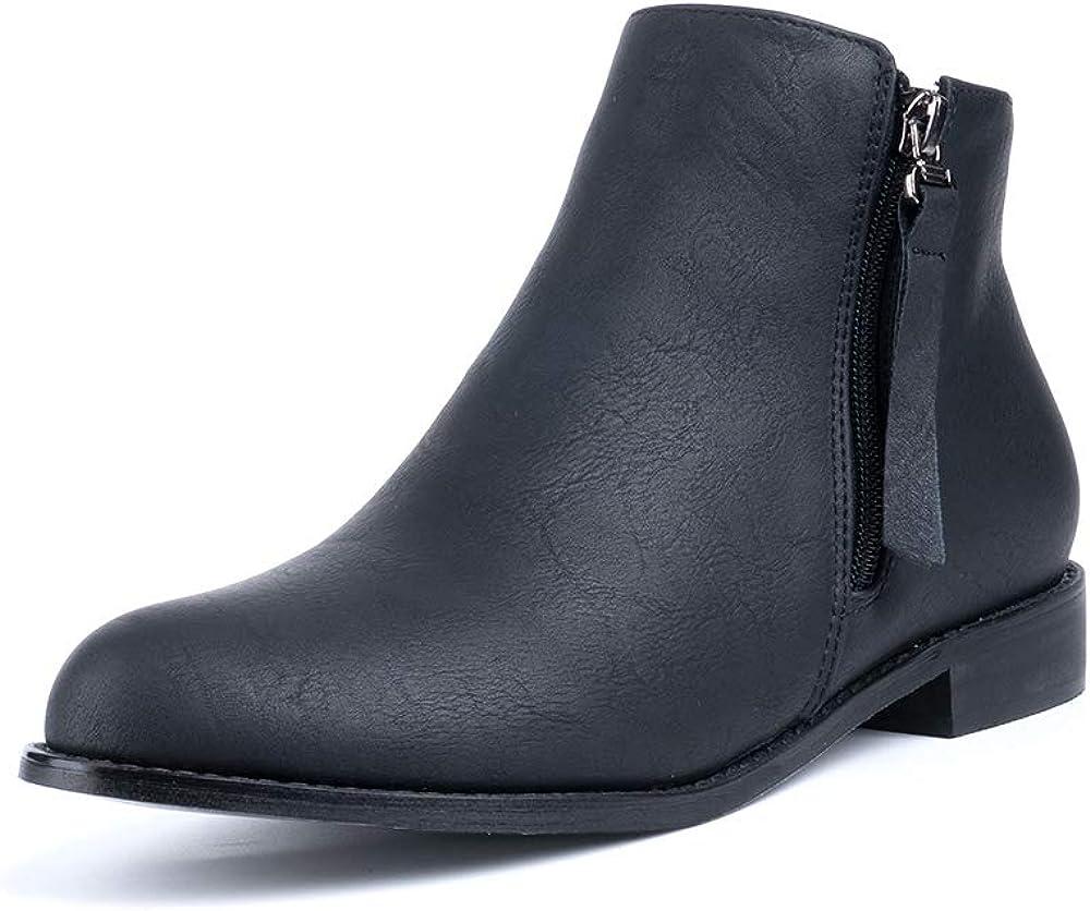 Hitmars Stiefeletten Damen Chelsea Boots Ankle Leder Blockabsatz Kurzschaft Stiefel 5Cm Absatz Schuhe Winter Elegant Schwarz Wei/ß Gr.35-43