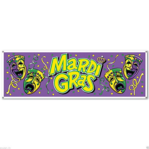 1 MARDI GRAS Fat Tuesday Party Decoration Prop JUMBO SIGN BANNER 60