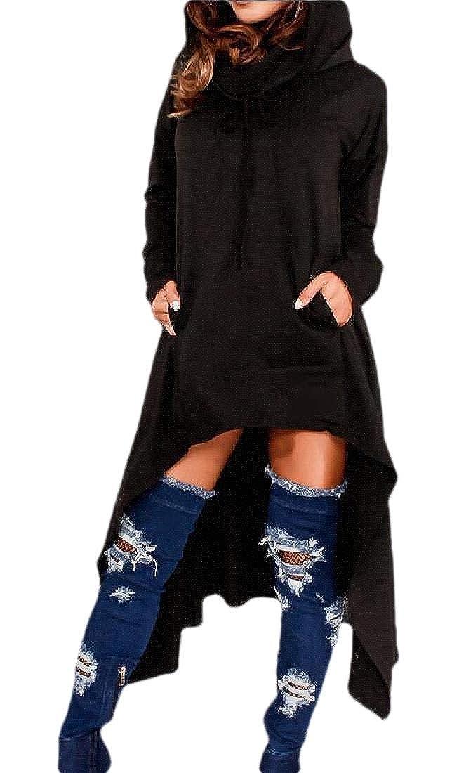 Gocgt Women Longline Hood Sweatshirt Tunic High-Low Hem Pullover Jumper