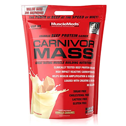 - MuscleMeds Carnivor Mass Anabolic Beef Protein Gainer, Vanilla Caramel, 10.5 Pounds